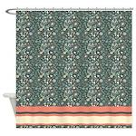 Dark Green Floral Pattern Shower Curtain