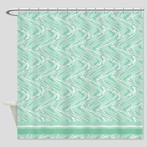Green Waves Shower Curtain