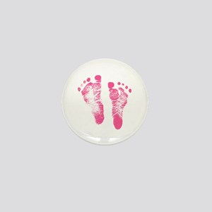 Baby Girl Footprints Mini Button