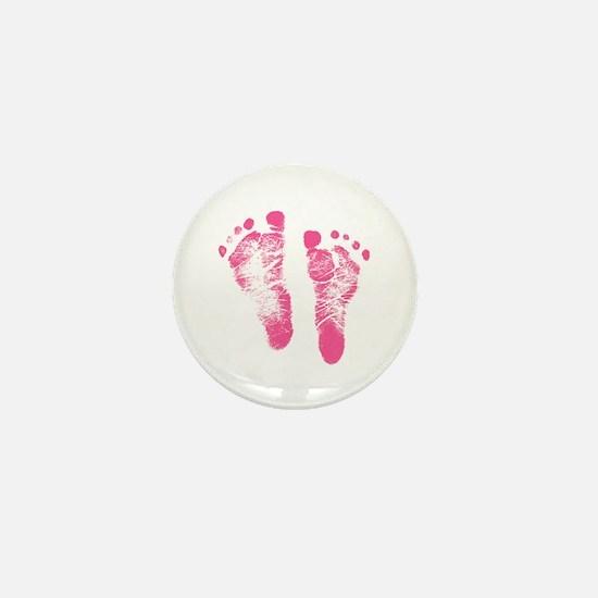 Baby Girl Footprints Mini Button