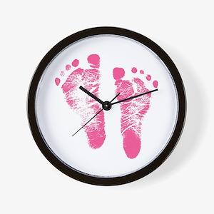 Baby Girl Footprints Wall Clock