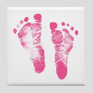 Baby Girl Footprints Tile Coaster