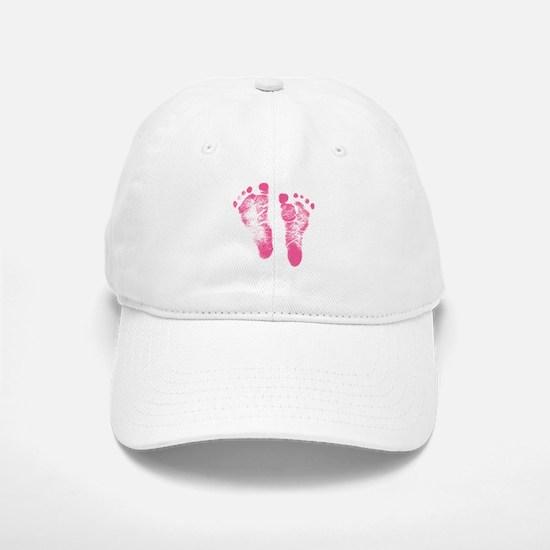 Baby Girl Footprints Baseball Baseball Baseball Cap