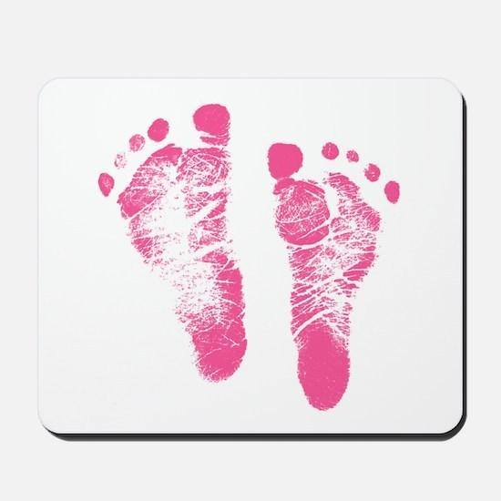 Baby Girl Footprints Mousepad
