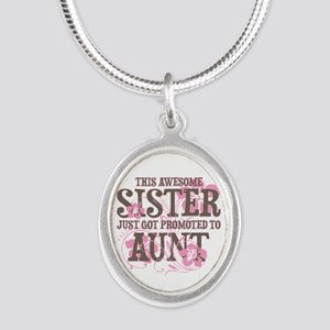 Promoted Aunt Silver Oval Necklace