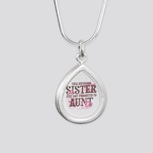 Promoted Aunt Silver Teardrop Necklace