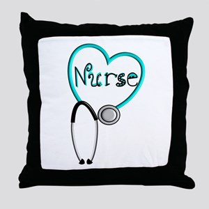 Nurse BLUE STETHO Throw Pillow