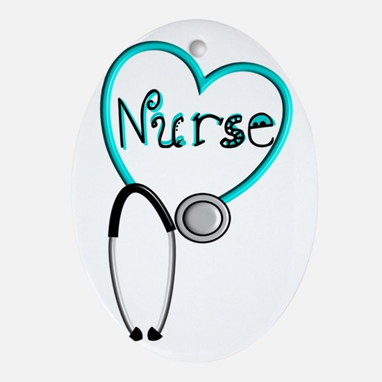 Nurse BLUE STETHO Ornament (Oval)