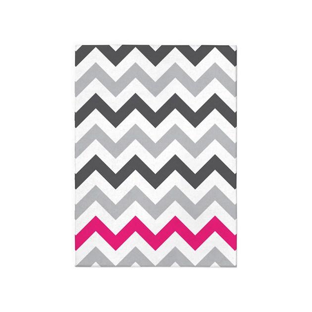 Grey Zig Zag With Hot Pink 5'x7'Area Rug By Zandiepants
