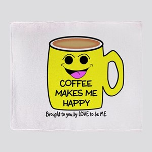 COFFEE MAKES ME HAPPY Throw Blanket