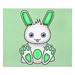 Kawaii Mint Green Bunny King Duvet