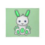 Kawaii Mint Green Bunny Throw Blanket