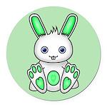 Kawaii Mint Green Bunny Round Car Magnet