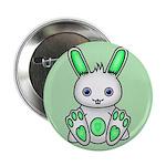"""Kawaii Mint Green Bunny 2.25"""" Button (10 pack"""
