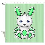 Kawaii Mint Green Bunny Shower Curtain