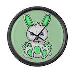 Kawaii Mint Green Bunny Large Wall Clock