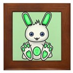 Kawaii Mint Green Bunny Framed Tile