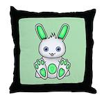 Kawaii Mint Green Bunny Throw Pillow