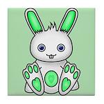 Kawaii Mint Green Bunny Tile Coaster