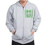 Kawaii Mint Green Bunny Zip Hoodie