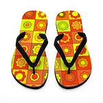 Yellow Orange Hippie Flower Flip Flops
