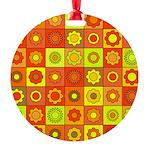 Yellow Orange Hippie Flower Round Ornament