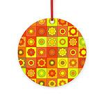Yellow Orange Hippie Flower Ornament (Round)
