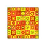 Yellow Orange Hippie Flower Square Sticker 3