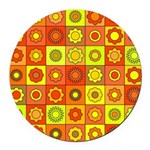 Yellow Orange Hippie Flower Round Car Magnet
