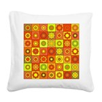 Yellow Orange Hippie Flower Square Canvas Pillow
