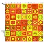 Yellow Orange Hippie Flower Shower Curtain