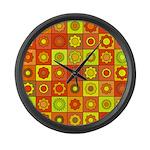 Yellow Orange Hippie Flower Large Wall Clock