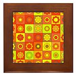Yellow Orange Hippie Flower Framed Tile