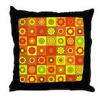 Yellow Orange Hippie Flower Throw Pillow