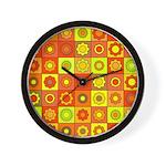 Yellow Orange Hippie Flower Wall Clock