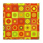 Yellow Orange Hippie Flower Tile Coaster