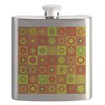 Yellow Orange Hippie Flower Flask