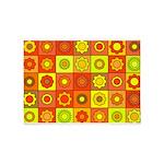 Yellow Orange Hippie Flower 5'x7'Area Rug