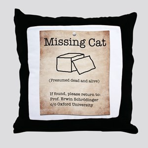 Schrödinger's Missing Cat Throw Pillow