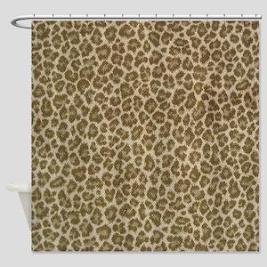 Leopard skin fabric curtain Shower Curtain