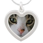 I See You Cat Silver Heart Necklace