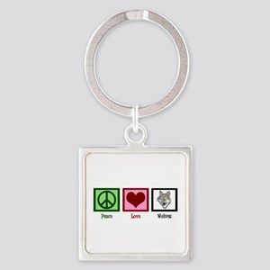 Peace Love Wolves Square Keychain