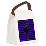 Goth Purple and Black Bunny Canvas Lunch Bag