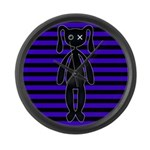 Goth Purple and Black Bunny Large Wall Clock