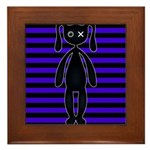Goth Purple and Black Bunny Framed Tile