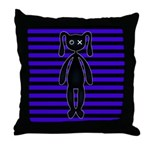 Goth Purple and Black Bunny Throw Pillow