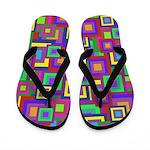 Retro Rainbow Squares Pattern Flip Flops