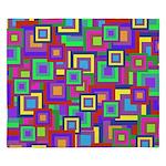 Retro Rainbow Squares Pattern King Duvet