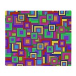 Retro Rainbow Squares Pattern Throw Blanket