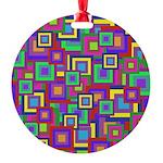 Retro Rainbow Squares Pattern Ornament
